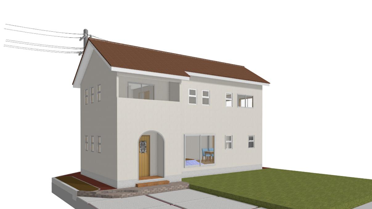 漆喰塗り壁のかわいいお家 完成予想図