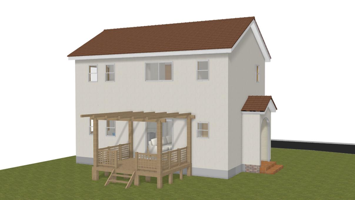 漆喰とウッドデッキのお家 完成予想図