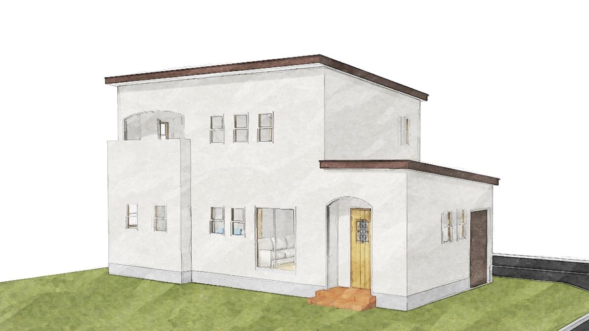 書斎からガレージが見えるインダストリアルデザインのお家
