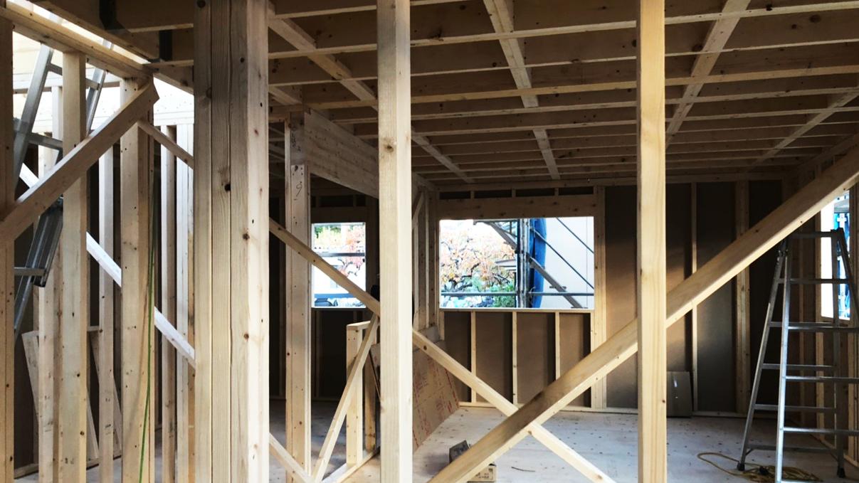 くつろぎのカフェスタイルのお家 上棟工事3