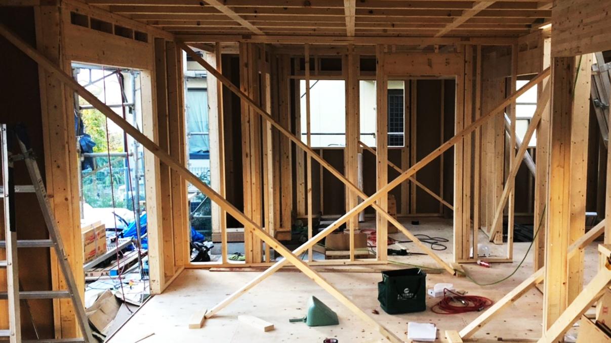 くつろぎのカフェスタイルのお家 上棟工事4